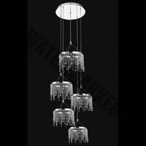5 Ring Crystal Drop Double Volume Chandelier
