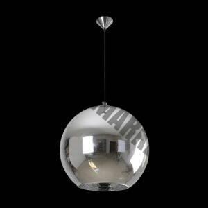 Large Glass Ball Pendant, Chrome