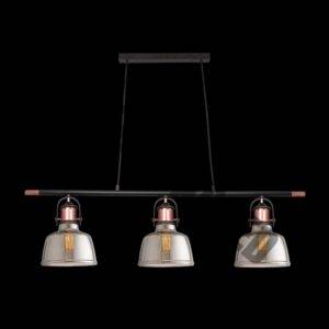 Nautical Copper and Glass Trio Pendant, Smoke