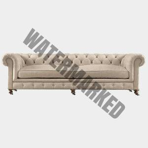 Chesterfield 3 Seater Linen Sofa