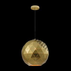 Large Laser Cut Metal Ball Pendant, Satin Gold