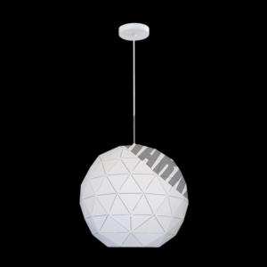Large Laser Cut Metal Ball Pendant, Matt White
