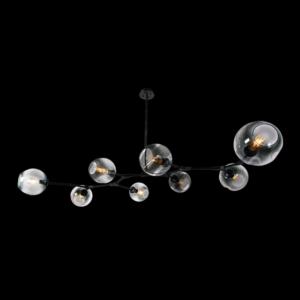 8 Light Molecule Horizontal Pendant, Black