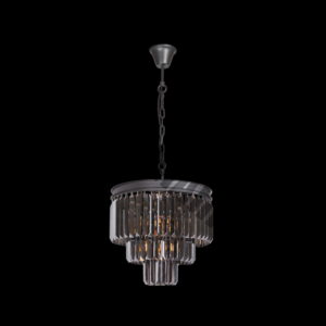 Crystal 3 Tier Chandelier Charcoal