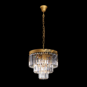 Crystal 3 Tier Chandelier Gold
