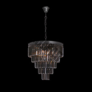 Crystal 5 Tier Chandelier Charcoal