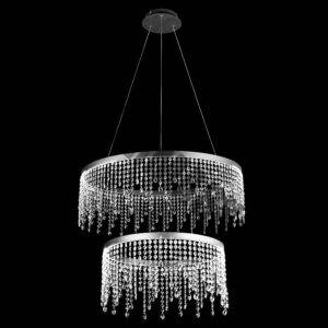 LED Double Ring Crystal Drop Pendant Chandelier