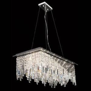 Large Rectangular K9 Crystal Pendant Light