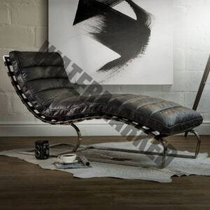 Morello Chaise  Distressed Black