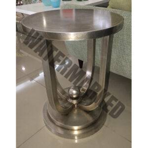 Round Matt Silver Side Table
