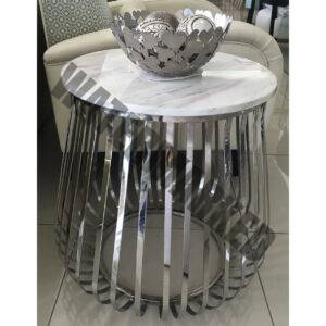 Round Slatted Side Table