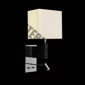 Wall Light with LED Reading Light – Wooden Base & Square Shade