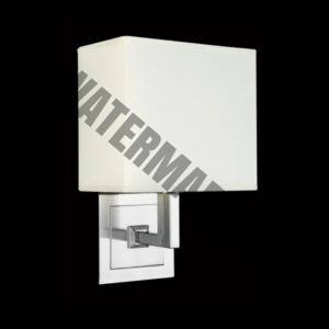 Chrome Wall Light with Square Fabric Shade – White