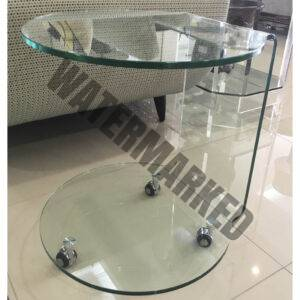 Glass Round Side Table on Wheels