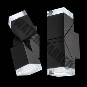 LED Double Aluminium Square 360 Degree Tilt with Lense Outdoor Wall Light, Black